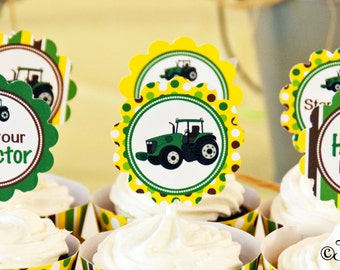 Tractor Birthday Party 2 Inch Party Circles, Instant Download, Cupcake Toppers, Favor Tags, Decorative Circles