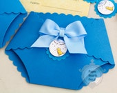 Classic Pooh Diaper Baby Shower Invitations - 40 Blue Invitations