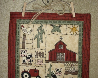 FARM COW BARN Moda Fabric  quilted wall hanging with hanger chicken, tractor wall decor