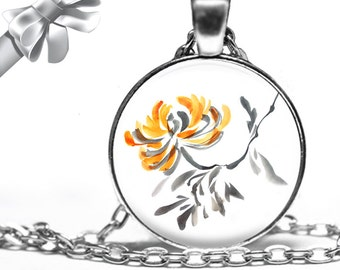Chines Brush Style Yellow and Gray Flower Necklace Pendant - Choose Size