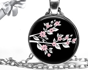 Pink and White Cherry Blossom Branch On Black Background Necklace Pendant - Choose Size