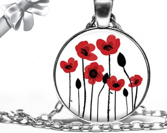 Red Poppies Poppy Flower Necklace Pendant - Choose Size