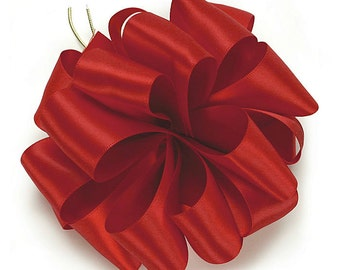 """5yds x 1-1/2"""" SCARLET RED Double Faced SATIN Ribbon Woven Edge (Free Shipping!)"""