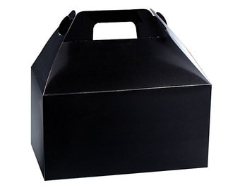 "6ct. MIDNIGHT BLACK Medium Size Gable Gift Boxes Tote Containers 8-1/2"" x 4-3/4"" x 5-1/2"" (Free Shipping!)"