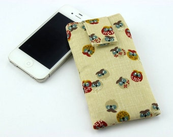 iPhone 6 sleeve, Mobile Phone Cover,fabric iPod cover,handmade iphone case,Happy Owls Cream