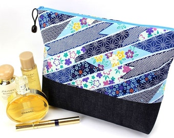 Large Cosmetic Pouch, Zippered Travel Pouch, Makeup Pouch,Cherry Blossoms Blue