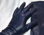 Vintage Ladies Navy Blue Miss Aris Leather Gloves - Wrist Length Sz 6 1/2
