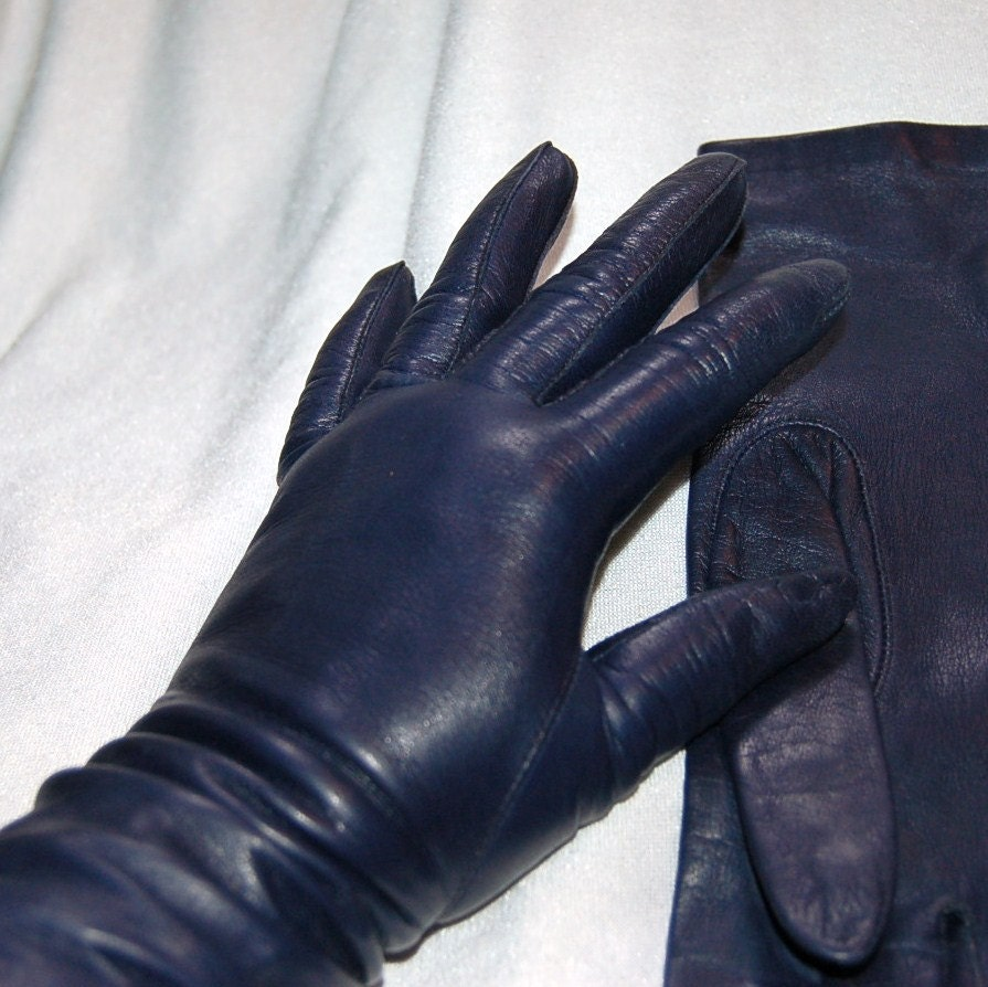 Ladies leather gloves blue -  Zoom