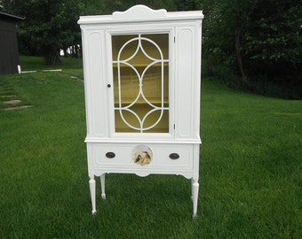 VINTAGE TALL CABINET - Hand painted