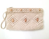 Ivory Boho Crochet Purse with Wrist Strap Perfect for Summer Festivals
