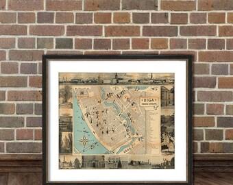 Riga map  - Vintage map of Riga fine archival print