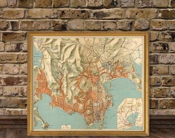 Rio de Janeiro map - Wonderful map of Rio de Janeiro - archival print