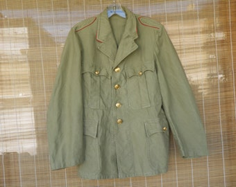 Vintage Army Green Washed Out Button Up Four Pockets Jacket Size S - M