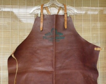 Vintage Thick Dark Brown Cowhide Leather Apron Leather Adjustable Straps
