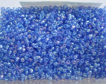 Translucent Rainbow Medium Blue 10 grams Round Seed beads Size 11 (1.8 mm)