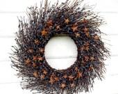 Americana Wreath-Primitive Country Door Wreath-Rustic Star Wreath-Military Door Decor-Wreaths-RUSTIC BLUE TWIG Wreath-Rustic Home Decor
