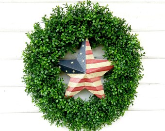 Summer Wreath-4th of July Wreath-BOXWOOD Wreath-Door Wreath-Patriotic Door Wreath-Large Door Wreath-Holiday Decor-Summer Home Decor-Gifts
