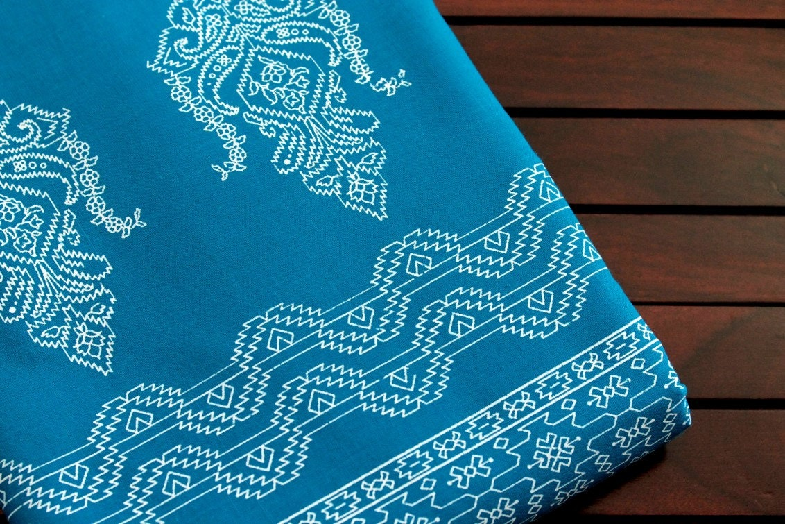 Firozi Blue Printed 100% Fine Cotton Fabric-Indian Traditional ... : quilt weight cotton - Adamdwight.com