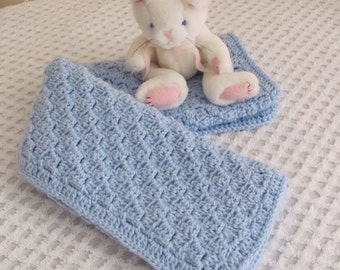 """It's A Boy! Blue Baby Afghan Hand Crocheted Acrylic """"I Love This Yarn"""" Soft Stroller or Car Seat Blanket, Baby Shower Christening/Baptism"""