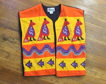 Fiesta Bird Vest / Vintage Embroidered Outerwear / Women's Colorful Boho Vest