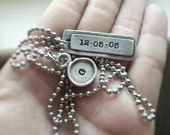 Mens Necklace Initial Letter Special Date Rustic Pewter Necklace Gift for Mom or Dad Hand Stamped Personalized Keepsake