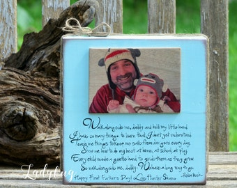 """Walk alonside me, daddy... One rustic block 11""""x11"""" and photo 5x7. Father's day gift. Fully customizable made by Ladybug Design by Eu."""