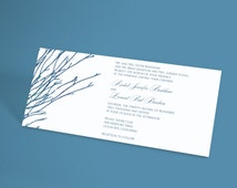 Winter Wedding Invitation Suite With Bare Forest Branches, Rustic Wedding. Winter Wonderland Wedding, Woodland Tree Theme. You Choose Colors