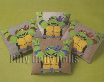 Teenage Mutant Hero Turtles knitting Pattern for set of four cushions in Double Knit yarn
