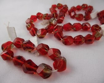 Glass Beads Ruby Red 8 mm Faceted Pkg of 22