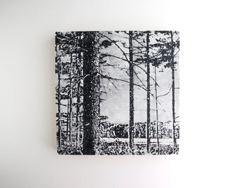 Winter Forest - Mixed Media - Screen Print on Wood
