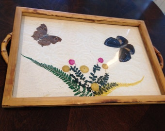Bamboo butterfly wing Tray vintage pressed flowers rectangular shape