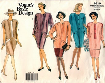 Vintage UNCUT PLUS SIZES Vogue Basic Design Pattern 2619 - Misses Easy, Very Loose-Fitting, Tapered Dress, Tunic & Skirt - 20-24