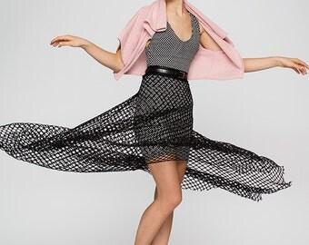 Black Mesh Skirt.