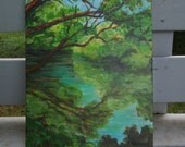 SALE Painting is an ORIGINAL Nature Landscape in Gorgeous Greens, Blues and Browns in Acrylic