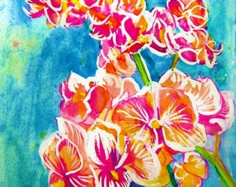 8x10 original Orchids painting by Laura Rispoli
