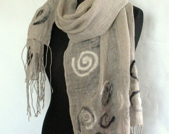 Linen Scarf Natural Gray White Washed Spiral Snail Felted Wool