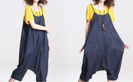 cotton Loose fitting Harem pants large size denim Bib Leisure Siamese Pants in dark blue