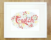 WELSH LANGUAGE Cwtch Cwtsh print. 10x8 ready to frame. Welsh Words for the home. Typography. Hug. Cuddle.