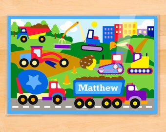 Olive Kids Personalized Under Construction Placemat, Laminated Placemat, Truck Placemat, Vehicle Placemat