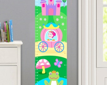 Kids Personalized Princess Canvas Growth Chart, Girls Bedroom Decor, High Quality Canvas Growth Chart, Nursery Wall Decor, Light Skin