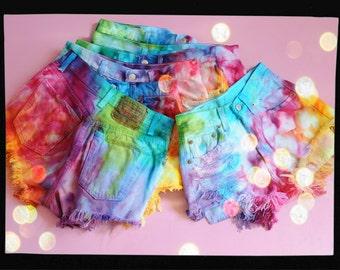 CUSTOM MADE Vintage Rainbow MARBLED Dyed Denim High Waist Cut off Shorts