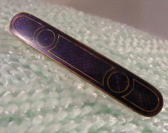 Vintage Victorian  Purple Guilloche Bar Pin.....   Lot 3958
