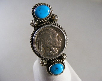 Vintage  Running Bear Indian Head Nickel Coin Turquoise  Ring in Sterling Silver ..... Lot 3995