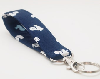 Squirrel Keychain, Fabric Key Fob With Snap, Woodland Style, Navy