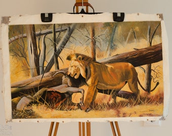 Zambian Oil Painting - 'The Lion Feasts' - Late 70s African Home Decor