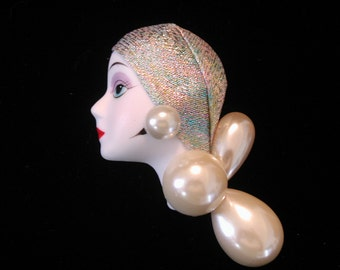 Face Pin with Pearls
