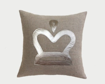 "Decorative pillow case, Linen fabrics Throw pillow case with Silver-Gold Crown accent, fits 16"" x16"" insert, Cushion case, Toss pillow case"