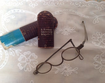 Antique eyeglasses, silver tone with box