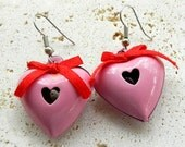 Vintage Valentine Day Pink and Red Jingle Bell Earrings