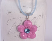Flower Clay Pendant on Rubber Cord